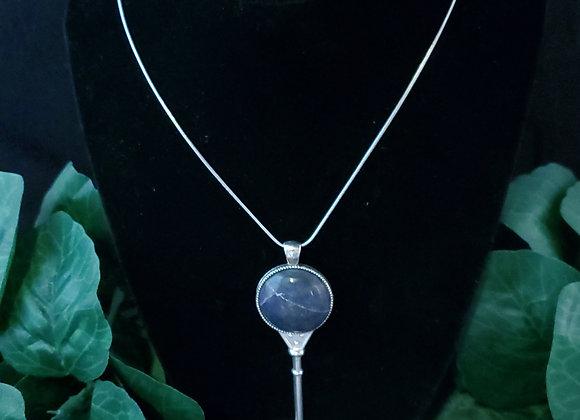 Key Pendant Necklace-Lepidolite