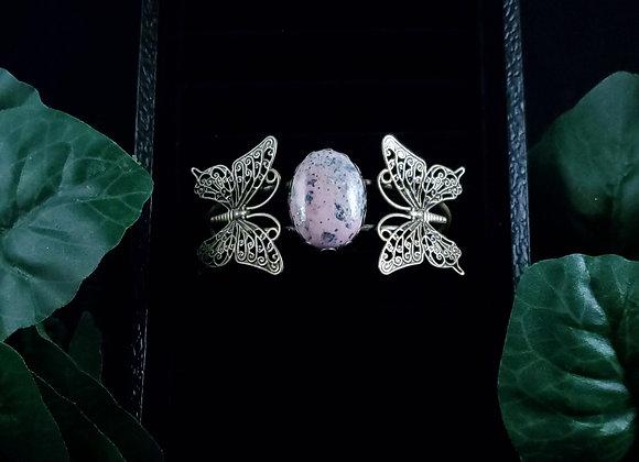 Metal Butterfly Bracelet-Rhodonite