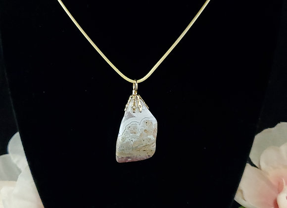Polished Rock Necklace-Crazy Lace Agate