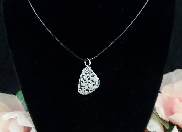 Polished Rock Necklace-Dalmatian