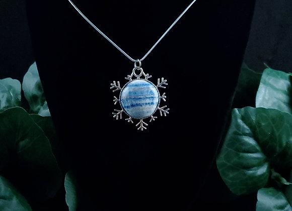 Snowflake Pendant Necklace-Lapis Lace