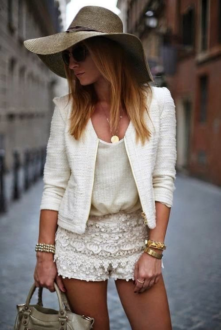 All White Outfit Idea with Golden Access