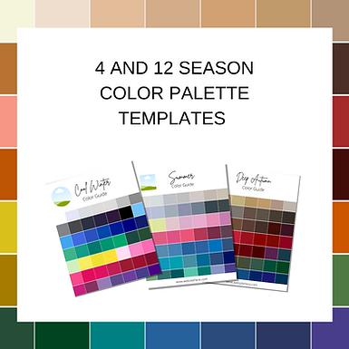4 and 12 season color palette templates-