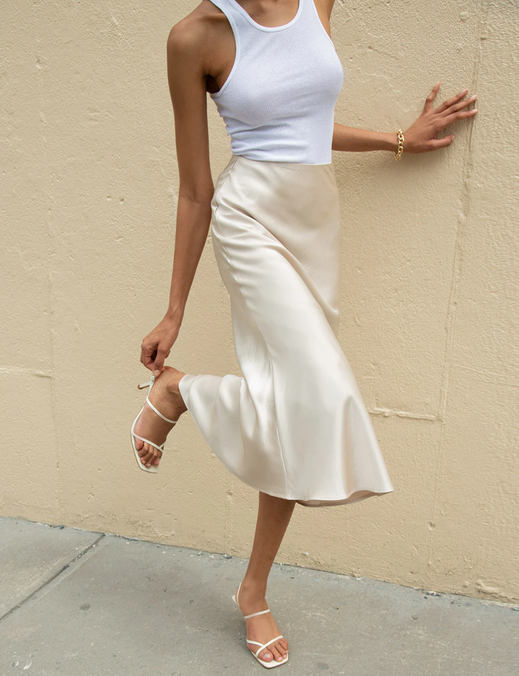 Rene Beige Satin Long Skirt.png