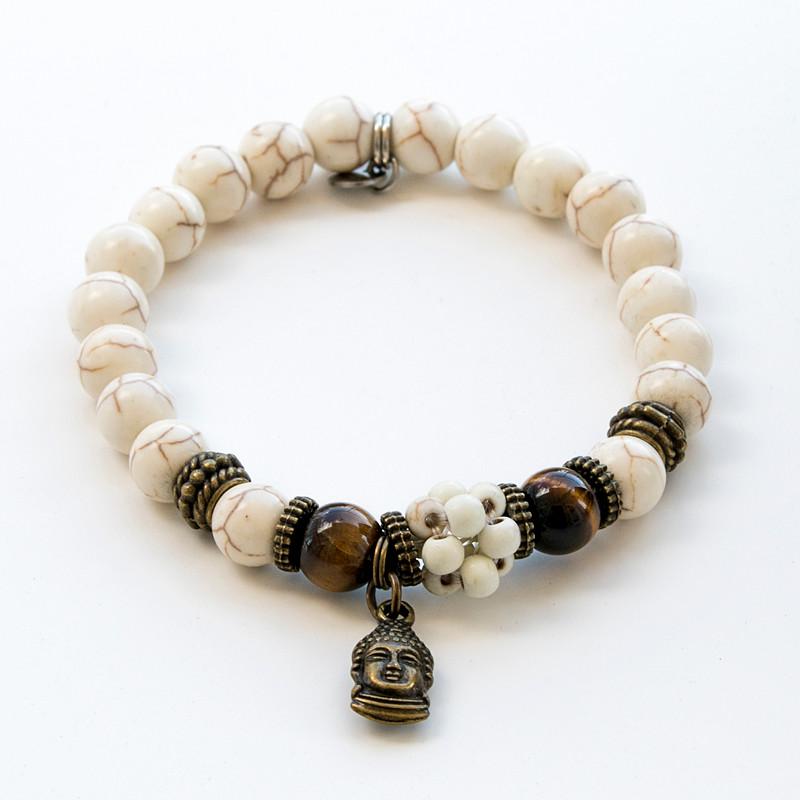 Bracelet howlite, oeil de tigre