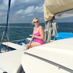 Sunning on the forward deck