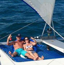 Relaxing on a Catamaran