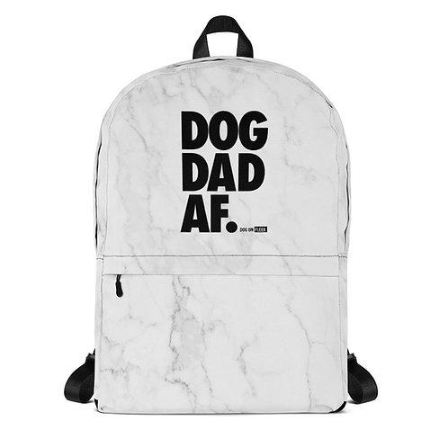 Dog Dad AF White Marble: Backpack