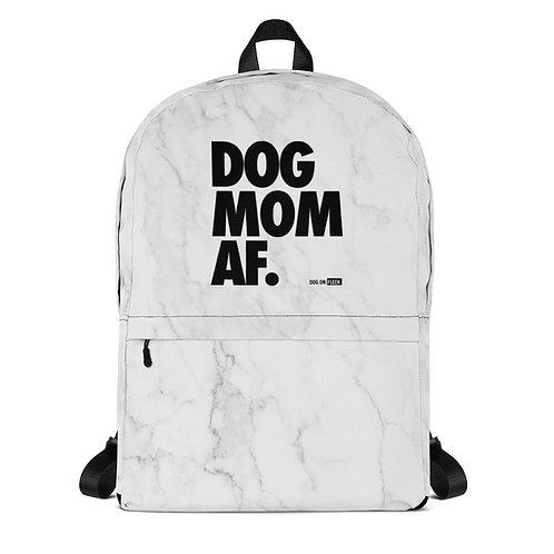 Dog Mom AF White Marble: Backpack
