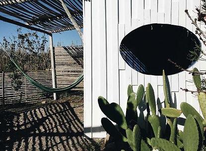 Hammock, circle window, cactus at Casa.J