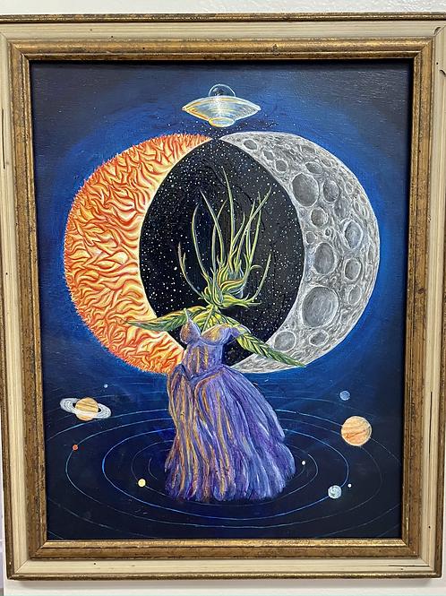 """Eclipse"" Acrylic on framed board by Doug Rhodes"