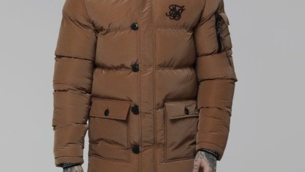 SikSilk Shiny Puff Parka - Rust
