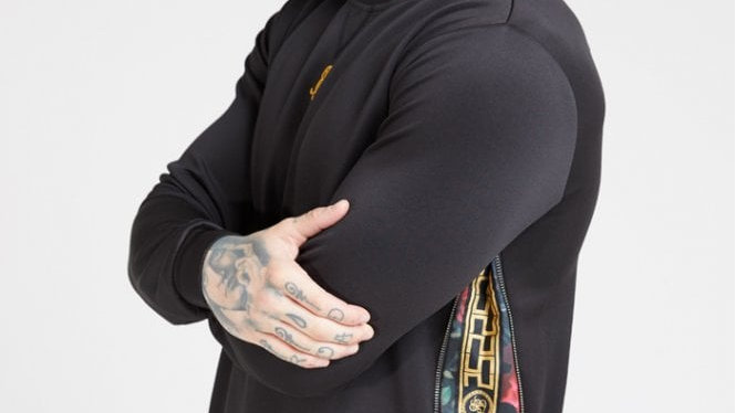 SSILK -15644 SWEAT SIDE ZIP CREW BLK/OIL PAINT