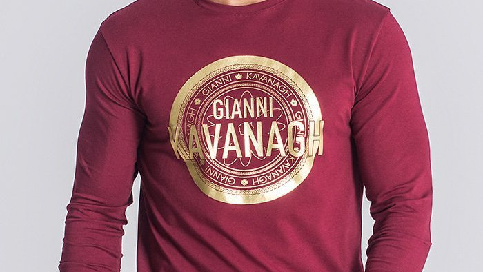 GKM-1430 Burgundy Gold Long Sleeve Tee