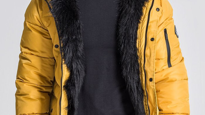 Gold Wolf Coat With Black Faux Fur