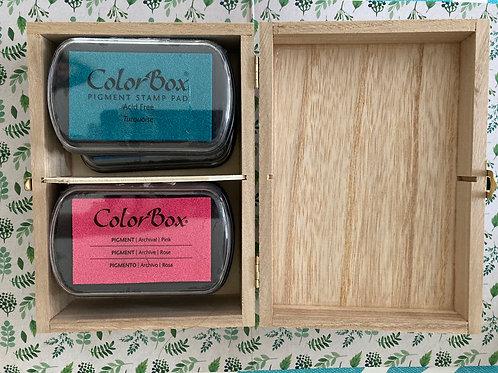 Houten doosje met 6  Colorbox inktkussens