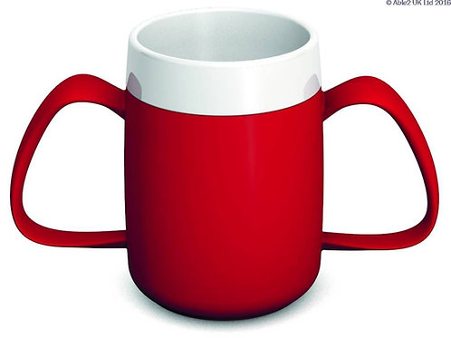 Ornamin Two Handled Mug + internal cone - 200ml - Red/White