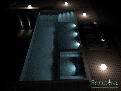iluminação led piscina jardim
