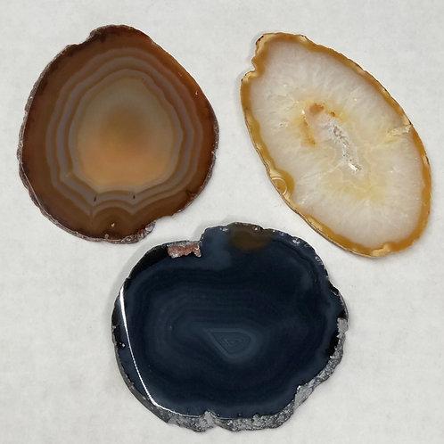3 Piece Set of Natural Geode Slices