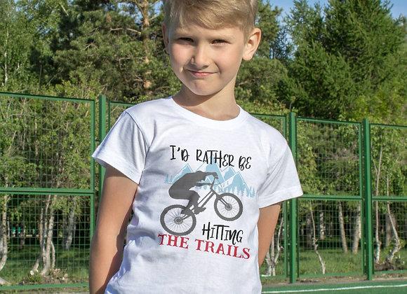 Kids Organic Cotton TShirt - I'd Rather Be Hitting the Trails - Mountain Bike