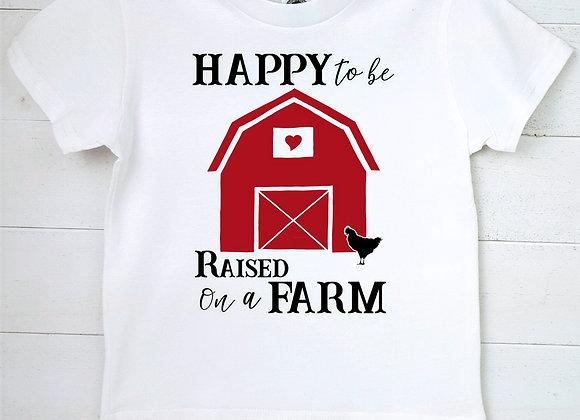Kids Organic Cotton TShirt - Happy to be Raised on a Farm