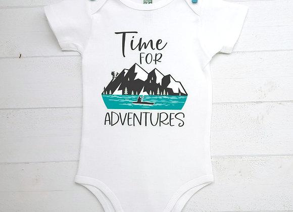 Organic Cotton Baby Bodysuit - Hiking/Kayaking - Time for Adventures