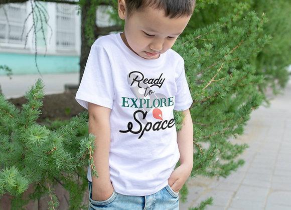 Kids Organic Cotton TShirt - Ready to Explore Space