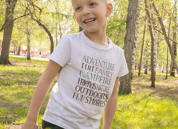 Kids Organic Cotton TShirt - Camping Words