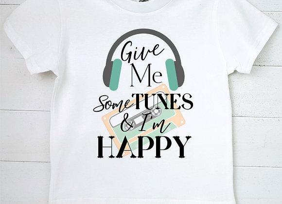 Kids Organic Cotton TShirt - Give Me Some Tunes & I'm Happy