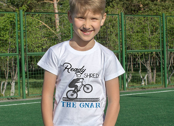 Kids Organic Cotton TShirt - Mountain Bike - Ready to Shred the Gnar