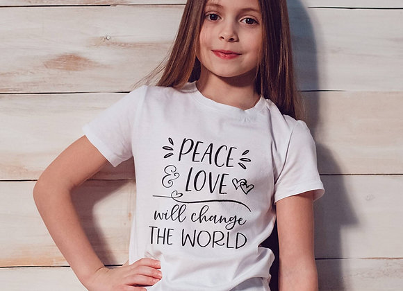 Kids Organic Cotton TShirt - Peace & Love will Change the World