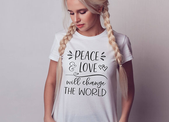 Women's Organic Cotton TShirt - Peace & Love will Change the World