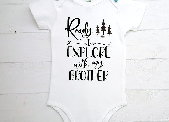 Organic Cotton Baby Bodysuit - Ready to Explore with...