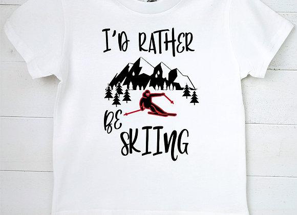 Kids Organic Cotton TShirt - I'd Rather Be Skiing