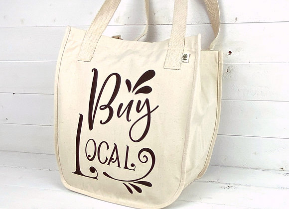 Organic Cotton Large Market Tote - Buy Local - Natural
