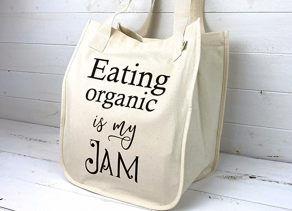 Organic Cotton Large Market Tote - Eating Organic is my Jam - Natural