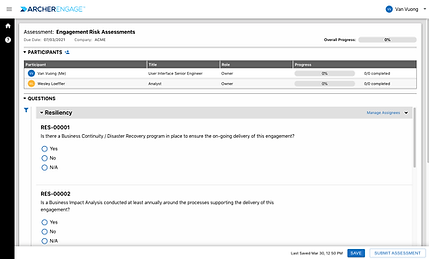 Third party risk management screenshot