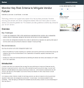 Monitor Key Risk Criteria to Mitigate Ve