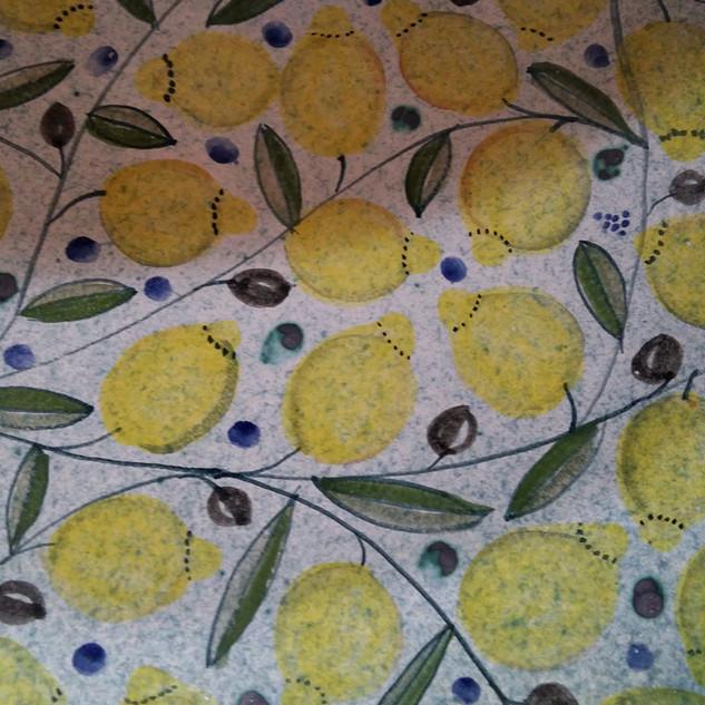 Tischplatte Zitrone