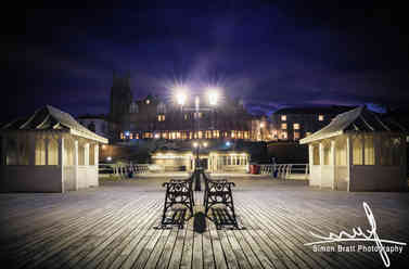 Cromer Pier and town at Night