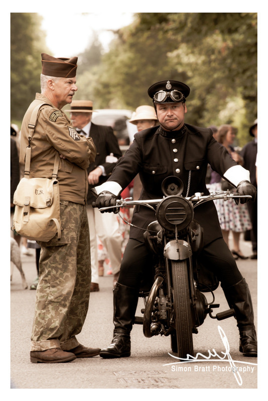 Period motorcycle and soldier