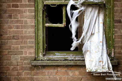 Derelict building broken window