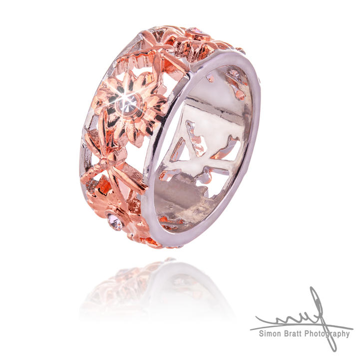 Rose gold ring Isolated on white