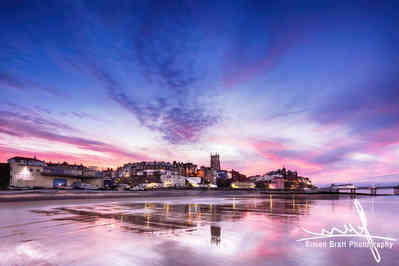 Sunset over coastal town