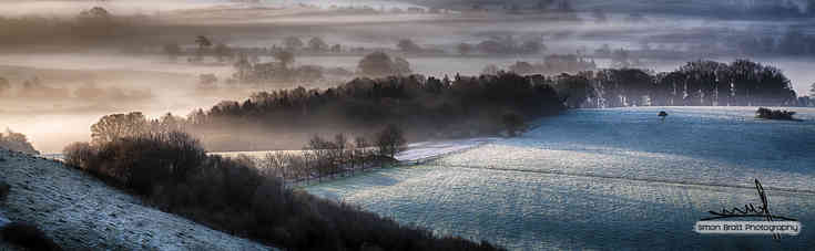 Frosty spring morning panoramic
