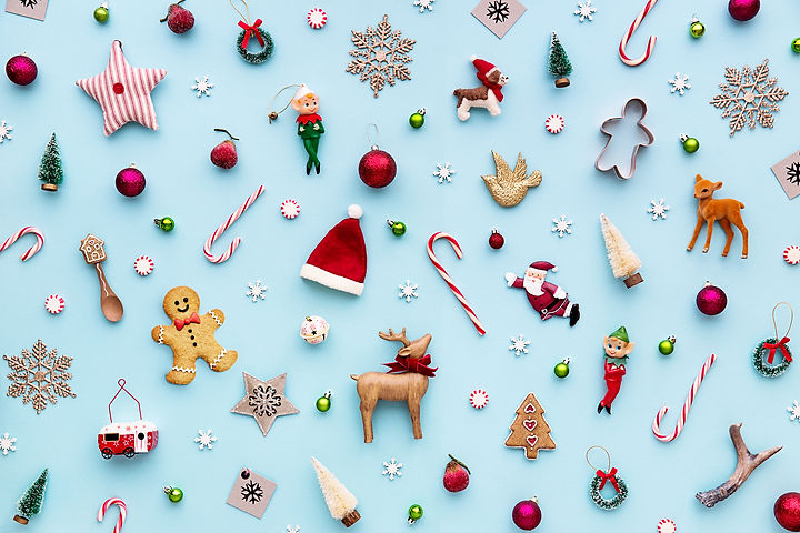 Collection of Christmas objects viewed f