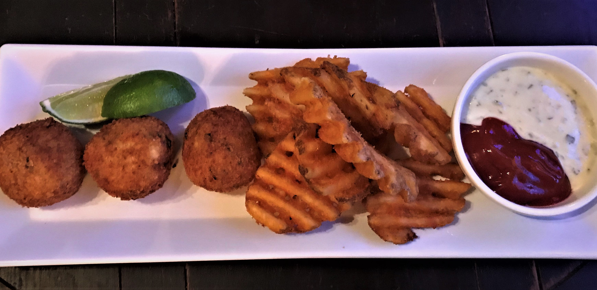 Fried Cod Cakes with Waffles Fries