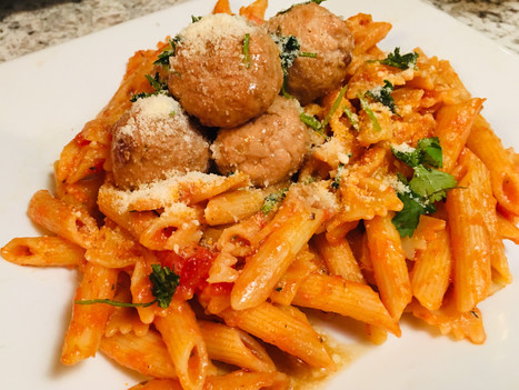 Salmon Meatball with Penne Tomato Basil Pasta