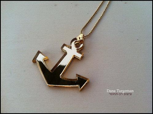 שרשרת עוגן מוזהב /Golden mirror Anchor necklace