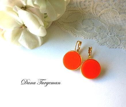 עגילים עגולים בכתום / Round Plain Orange Earrings